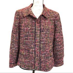 Talbots Multicolor Wool Blend Tweed Blazer